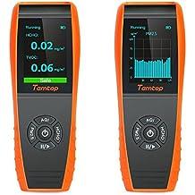 LKC-1000S+ - Detector de aire para interiores con monitor de temperatura y humedad profesional, pruebas precisas de formaldebyde con PM2,5/PM10/HCHO/AQI/partículas/curva de grabación, medidor de calidad del aire con visualización de tiempo para detección al aire libre