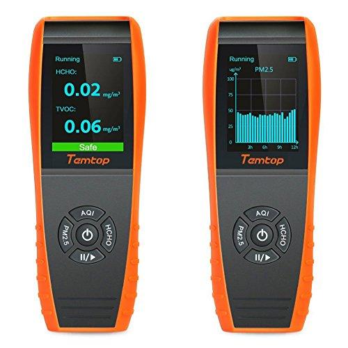 lkc-1000s + indoor Air Quality detector professionale di temperatura e umidità monitor accurati test Formaldebyde con particelle pm2,5/PM10Hcho/Aqi//registrazione di rilevazione curve misuratore di qualità dell\' aria con visualizzazione del tempo per esterni