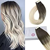 Moresoo 14 Inch Tape in Remy Hair Extensions 50g/20pcs Extensions Mensch Hair Color Balayage Darkest Brown #2 Fading to Platinum Blonde #60 Brazilian Straight Keratin