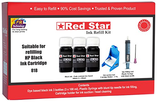 Red Star Refill kit for HP 803 802 680 678 818 703 704 56 46 901 Cartridge, Tools for Ink Filling Nozzle Cleaning (RS0009, Red and White)