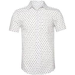 SOOPO Camisa Hombre Shirt Blanco de Manga Corta Estampados de Ancla de Barcos de Colores para Hombre, Camiseta Bonita y Cómoda para Verano, S