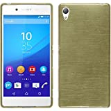 PhoneNatic Case für Sony Xperia Z3+ / Plus Hülle Silikon gold brushed Cover Xperia Z3+ / Plus Tasche + 2 Schutzfolien