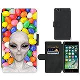 Grand Phone Cases PU Flip Carcasa Funda de Cuero Piel Cubre Case // Q05510666 Alienígena nuevo Caramelo afrutado // Apple iPhone 7