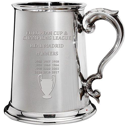 European Cup & Champions League Wins Real Madrid, 1pt Pewter Celebration Tankard, Football Champion
