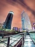 Paragon Square–Color the Night von doumai–Bild Foto auf Alu Dibond–Größe 45cm x 60cm–System von Haltevorrichtungen von Schienen Aluminium–Referenz 310102dbl3r-45