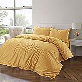 Nimsay Home - Set di biancheria da letto in lino cotone, con copripiumino., Cotone lino, Banana, Singolo