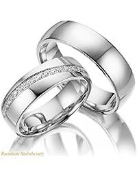 2 x Trauringe 925 Silber PAARPREIS Sterling Silver mit 45 Zirkonia Steinen und Gravur AG.43 Hand gefasst Wedding Rings Silver Sterling Verlobungsringe - Freunschaftsringe Ringpaare
