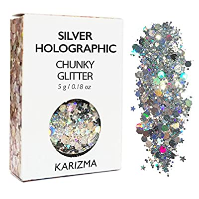 Silver Holographic Chunky Glitter ? COSMETIC GLITTER ? Festival Glitter Face Body Hair Nails