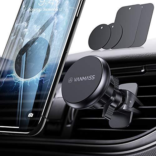 VANMASS Handyhalterung Auto Magnet Handyhalter fürs Auto 2019 Upgrade 6 Superstark Magnete Lüftung mit 4 Metallplatte Auto Handyhalterung 360° Drehbar Universal für iPhone Samsung Huawei iPad Navi usw