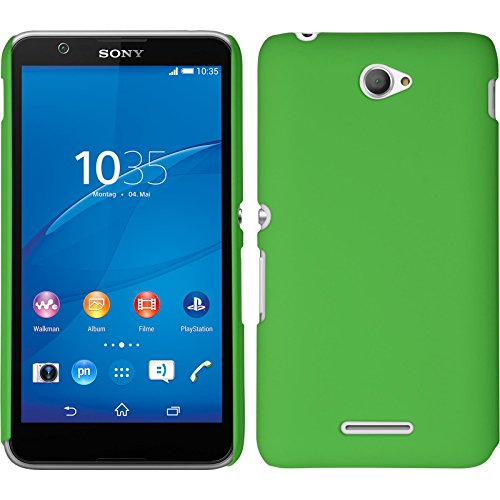 PhoneNatic Case für Sony Xperia E4 Hülle grün gummiert Hard-case für Xperia E4 + 2 Schutzfolien