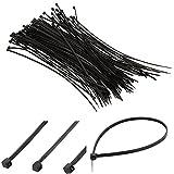 Cosanter 3*200mm Haute qualité Noir Auto-bloquant Attache-câble en nylon Liens en plastique 100pcs