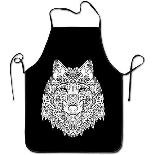 fgjhdfj Tribal Ethnic Wolf Totem Hen Apron Chef Aprons -