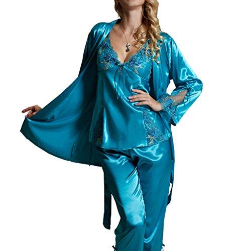Amybria – Pigiama con Vestaglia da Donna, in seta di alta qualità, maniche lunghe in pizzo, set di 3 pezzi, 4 colori disponibili, perfetto per corredo matrimoniale