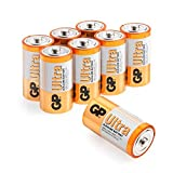 GP Batteries Ultra Alkaline Pack of 8 C batteries | Superb operating time