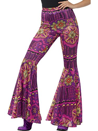 Smiffys Damen Woodstock Schlaghose, Größe: 40-46, Pink, 21464