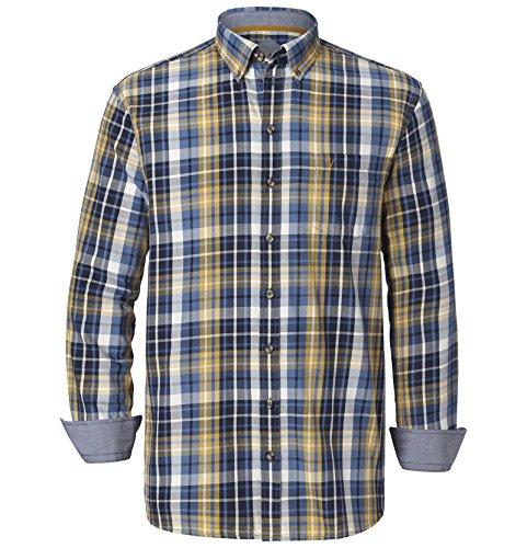 Jan Vanderstorm Herren Karohemd Aun in Übergröße Große Größen Plus Size Big Size XL XXL XXXL 4XL 5XL 6XL 7XL 8XL 9XL 10XL (Button-down-shirt Gestreifte Blau)