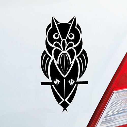 Auto Aufkleber in deiner Wunschfarbe Eule Uhu Tribal Tattoo Nacht Tuning 12x6 cm Autoaufkleber Sticker Folie