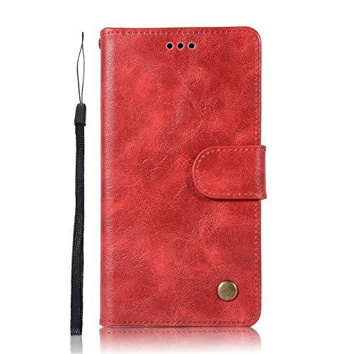 Für Lenovo A6000 Hülle, Premium PU Leder Schutztasche Klappetui Brieftasche Handyhülle, Standfunktion Flip Wallet Case Cover - Rot