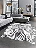 Carpetia Print Teppich Animalprint Zebra Teppich Fellimitat Zebrafell schwarz Größe 75x100 cm