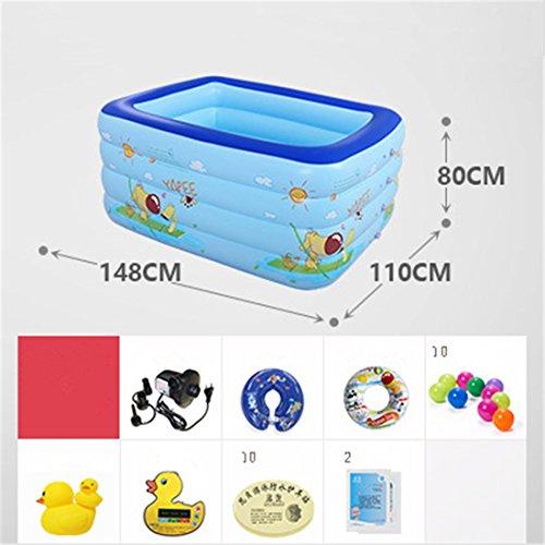 Verdicken Sie umweltfreundliche PVC-Familienkinder schwimmen Gefaltete aufblasbare quadratische Babybadewanne Pool Spielzeug Pool 148 * 110 * 80cm elektrische Pumpe für 0-7 Jahre alt