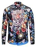 Pizoff Herren barock Palace Hemden - Luxus Still Fashion Langarm Hemd Tops mit golden floral Druckmuster Leopard und Blumen AL082-11-L