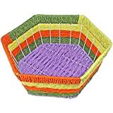 Babysid Collections Fruits Basket For Kitchen Dinning Table Multi Color Rope Design With Steel Frame Size : 24 X 24 X 8 Cm