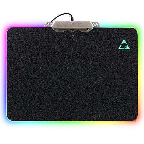 Tapis de Souris Gamer Lumineux, Tapis Gaming Professionnel avec Rétro-Eclairage RGB USB Câblé, 35 x 25 x 0,36cm