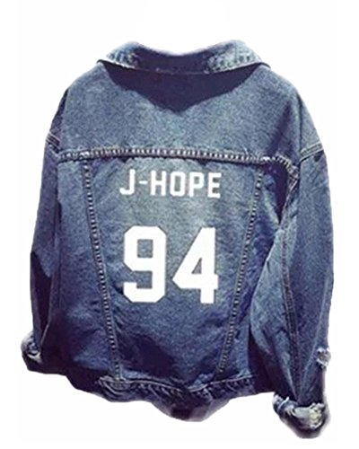 ShallGood unisex jeansjack voor ARMY KPOP dames heren Bangtan Boys Suga Jin Jimin Jim Jung Kook J-Hope Rap-Monster Tops Baseball jas Denim Jacket -  ontspannen