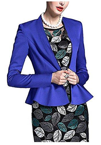 AGOGO 2017 Herbst Winter Damen Womens Slim Fit Langarm Tailored Plain Schößchen Rüschen Ernte Blazer frauen Slim Fit Jacke Casual Business Work Formale Abendmantel Top neue (Blau, DE 38)