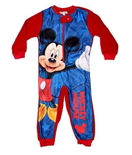 Disney Micky Maus Polar Fleece Jungen Schlafanzug Onesie Overall (98 (3 Jahre), Rot) (Donald Duck Anzug)