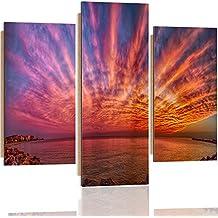 Feeby. Wandbilder - 3 Teile - Gedrucktes Bild, Foto, Kunstdrucke, Deko Panel, 3-Teilig, Foto, Typ A, 60x80 cm, MERR, KÜSTE, NATUR, VIOLETT