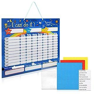 Navaris Tableau de Récompense pour Enfants - Tableau Magnétique pour Un Comportement Responsable - 240 étoiles 1 marqueur - en Anglais