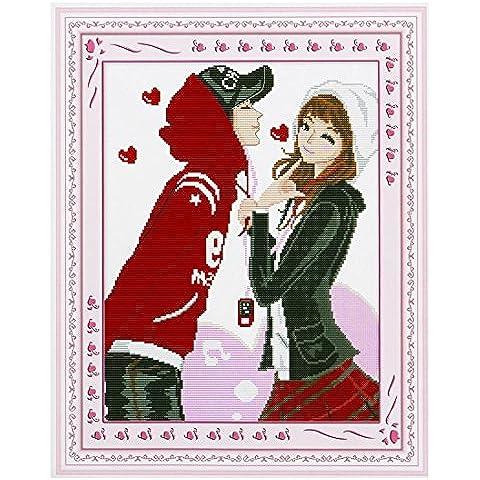 Mujer dulce amantes Patrón puntada en cruz Kit de regalo hecho a mano
