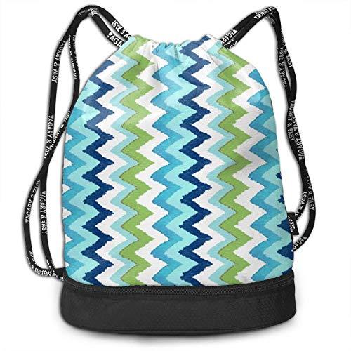 Ovilsm Turnbeutel Hipster Sporttaschen Watercolor Green Blue Fusion Drawstring Bag Rucksack Shoulder Bags Travel Sport Gym Bag Print - Yoga Runner Daypack Shoe Bags with Zipper and Pockets -