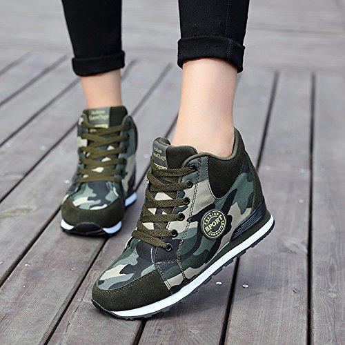 de La Mujer Camuflaje Zapatillas de Tacón Alto Ejército Verde Aumentar La Altura Zapatos 6.5cm Mujer Botas Cuñas 41