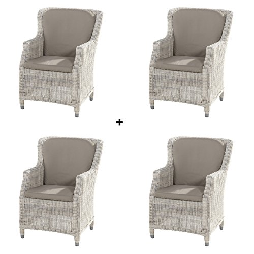 4Seasons Outdoor 4er Set Brighton dining Sessel inkl Kissen Polyrattan Provance