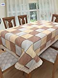 #1: Clasiko 6 Seater PVC Table Cover; Brown, Yellow & Grey Checks; Anti Slip; 60x90 inches; 6 Seater