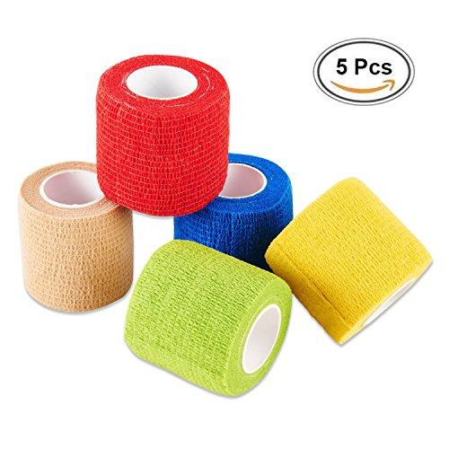 Selighting 5 Stk Selbsthaftend Bandagen Klebeverband Selbstklebend Bandagen für Finger Handgelenk und Knöchel (5cm x 4,5m) -