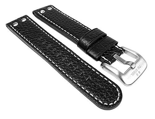 TW STEEL Marken Ersatzband Leder Band 22mm Schwarz u.a für TW7, TW22, TW1, TW5, TW6, TW21N, TW23, TW3, TW11