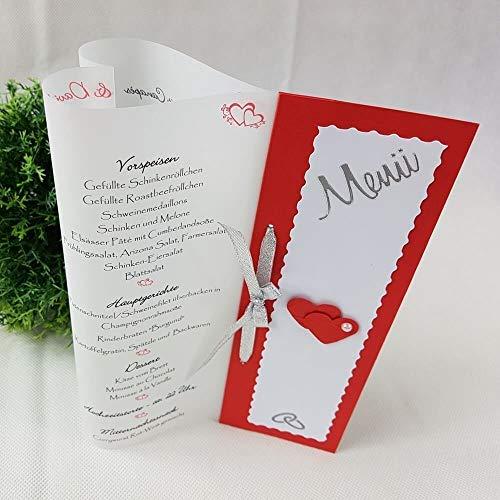 10 Stück - Menükarte Tischlicht HERZform rot-weiß-silber Hochzeit Kommunion