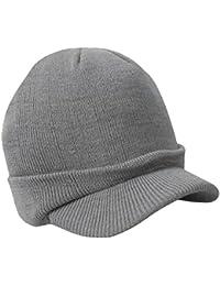 Unisexe Hommes Chapeau d'Hiver Tricoté Mode Casquette Souple Chaud Elastique avec Visière