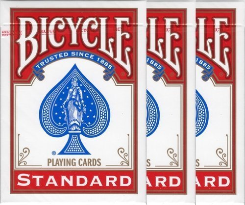 NO.1 BETTING BICYCLE (BAISUKURU) 808 STANDARD RIDER BACK PLAYING CARDS POKER SIZE DECK SHRINK RED 3 PACK (JAPAN IMPORT)