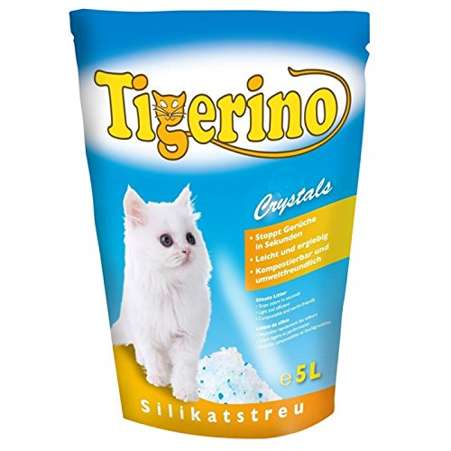 zm Lettiera Tigerino Crystals 6 pacchi da 5 litri Lettiera in silicio Crystals Tigerino per gatti: elimina rapidamente i cattivi odori, ha un'enorme potere assorbente e un'ottima resa