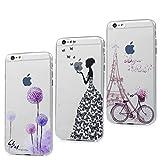 3x Cover iPhone 6S, iPhone 6 Custodia Silicone Ultra Sottile Antiscivolo Antiurto Slim Bumper Case per iPhone 6/6S - Ragazza + Bici + Tarassaco