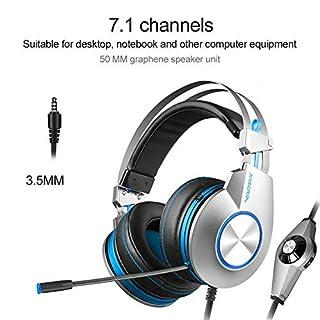 Jinclonder K5 Stereo-Kopfhörer für PS4, PC, Xbox One, Kopfhörer mit Geräuschunterdrückung, mit Mikrofon, Basskontur, Ohrenschützer, für Laptop, Mac, Schalterspiele Ré