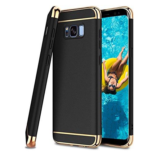 Conie GT31567 Golden Touch Kompatibel mit Samsung Galaxy J7 2017, Soft Flex Case Ultradünn Handyhüllen PC Bumper [2-Farbig] Hülle für Galaxy J7 2017 Case Schwarz Gold Golden Cover