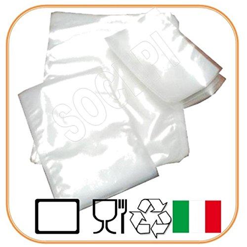 comprare on line 100 Buste sottovuoto per alimenti 25x35 cm SOCEPI,sacchetti per sottovuoto goffrati adatti a tutte le macchine per sottovuoto prezzo