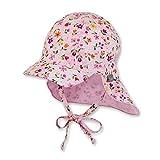 Sterntaler Schirmmütze für Mädchen mit Nackenschutz, Bindebändern und niedlichem Blume-Motiv, Alter: 5-6 Monate, Größe: 43, Rosa