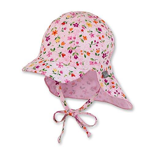 Sterntaler Schirmmütze für Mädchen mit Nackenschutz, Bindebändern und niedlichem Blume-Motiv, Alter: 9-12 Monate, Größe: 47, Rosa