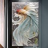 BAGEHA Bilder Poster Kunstdrucke Skulpturen Wall Picture Wall Art Three-Dimensional Relief Decorative Painting Entrance Vertical Erection Single Corridor Aisle Mural Paintings 3D Fish,B82X134Cm